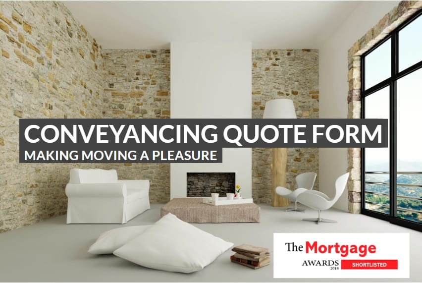 text reading conveyancing quote form over the image of a living room