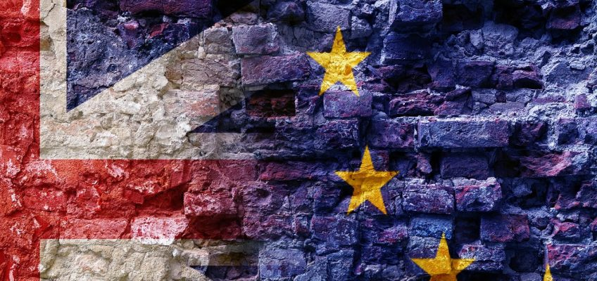 Brexit, flags of the European Union and the United Kingdom as overlay on an old brick wall