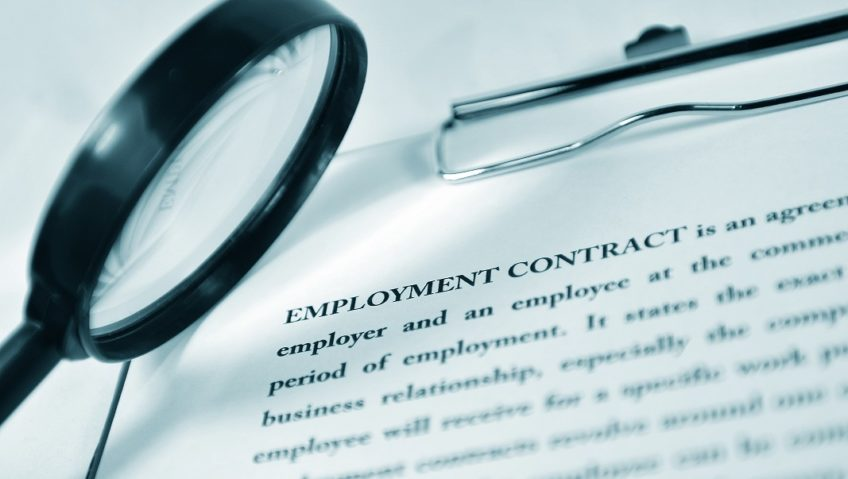 magnifying glass over an employment contract