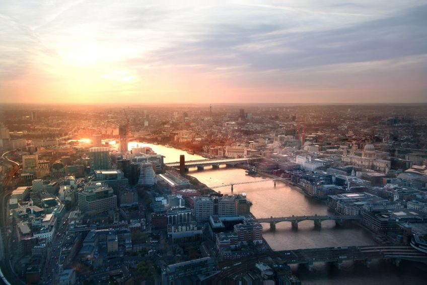 cityscape of london from above at sunset