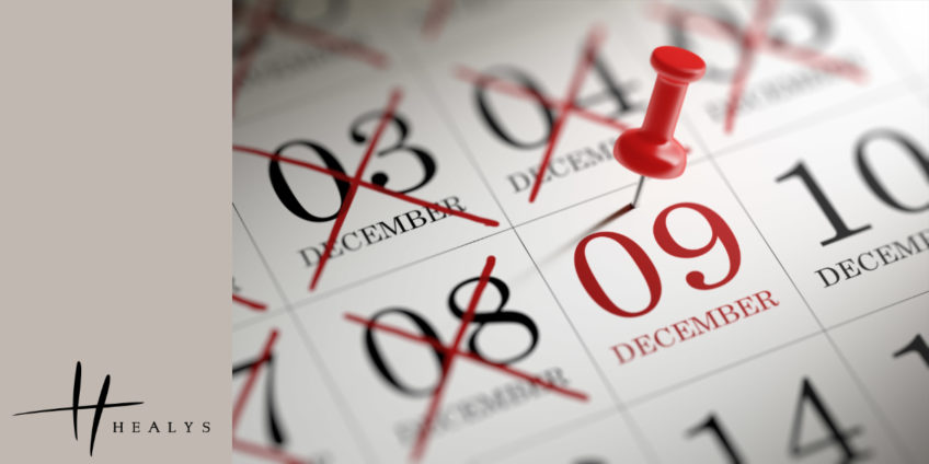 image of calendar with 9 December pinned
