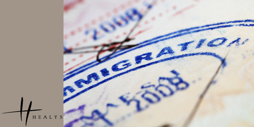 close up of immigration papers