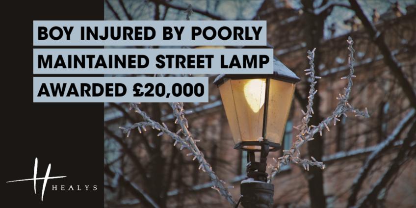 Lit up streetlamp at night