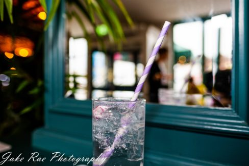 close up of glass of gin and tonic