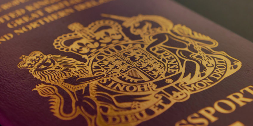 close up of British passport