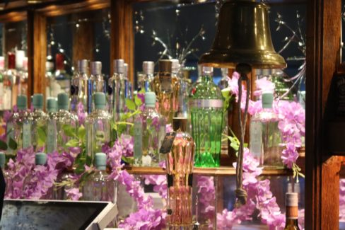 image of the brighton gin bottles behind the bar