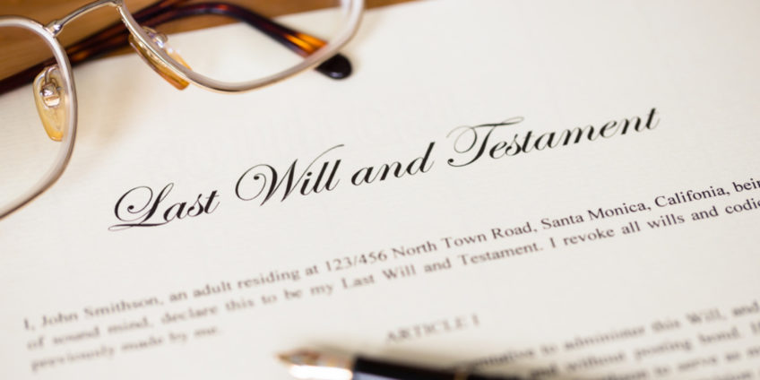 Close up of last will and testament document
